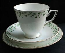 Vintage ROYAL TARA Bone China Shamrock Pattern Cup&Saucer Bread Plate 3 Pc Set