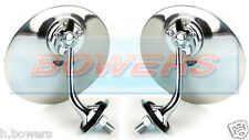 PAIR OF LUCAS STYLE CHROME ROUND EXTERIOR WING DOOR MIRROR CLASSIC CAR LH & RH