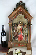 Antique French 1900 Painted plaster Station of cross Jesus christ religious