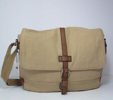 Fossil Emerson EW Messenger Canvas Dark Khaki Shoulder Bag SBG1008147 NWT$148.00