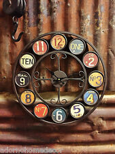 Metal License Plate Wall Clock Round Industrial Distressed Rustic Chic Vintage