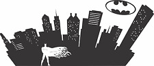 BATMAN CITYSCAPE silhouette home, childs room décor wall decal, vinyl graphics