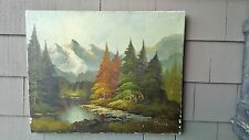 Vintage signed snowy mountains w/river/forest tree landscape Oil painting canvas