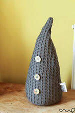 Parlane Grey Knitted Woven Fabric Door Stop Wooden Button Cone Shape Gift