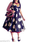 SARAH-P EXTRA LARGE POLKA DOT VINTAGE RETRO 50'S PARTY SWING DRESS SIZE 10-28