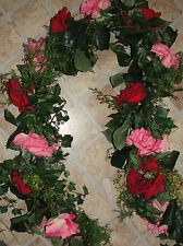 6 foot Garland Beauty Red Pink Rose High End Floral Window Door Shabby Chic
