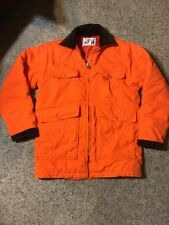 Vintage WOOLRICH Men's XL Hunting Coat Jacket Blaze Orange w Brown Corduroy Trim