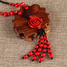 Handcrafted large red lacquer rose beaded necklace