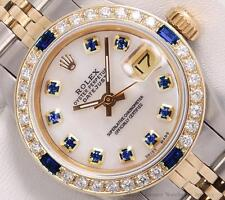Rolex Lady Datejust 2 Tone 18k-White MOP Blue Diamond Dial-Sapphire Diamd. Bezel