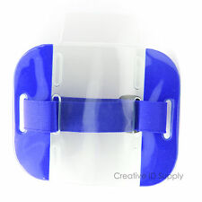 Reflective Blue Arm Band Photo ID Badge Holder Vertical w/ Elastic Blue Band