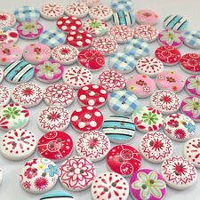 100pcs Multi-Color Printed 15mm Round Wooden Buttons Sewing Craft F Baby Clothes