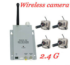 Brand new 4 Mini Wireless Spy IR LED CCTV Security 4 Camera System