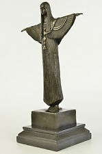 Egyptian Dancer Cleopatra Standing Arms Spread Original Bronze Sculpture Statue