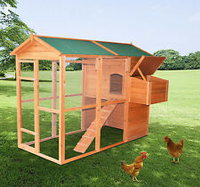 PawHut Deluxe Large Backyard Wood Chicken Coop Poultry Hen House w/ Run Egg
