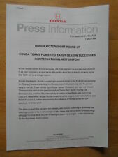 HONDA INTERNATIONAL MOTORSPORT SUCCESSES orig 1998 UK Mkt Press Release