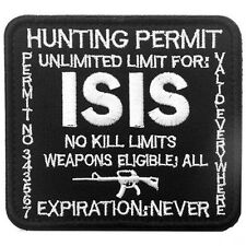 HUNTING PERMIT UNLIMITED LIMIT FOR ISIS MORALE TACTICAL BADGE HOOK VELCRO PATCH