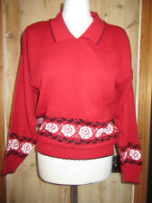 VINTAGE 1940'S STYLE COLLARED JUMPER WHITE ROSE AND BLACK LEAF PATTERN SIZE 12..