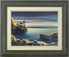 Claude Bleau Quebec Vintage 1975 Canadian Original Oil Landscape Lighthouse qqoo