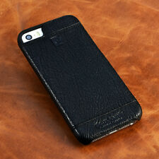 PIERRE CARDIN Black Genuine Leather Hard Case Cover For Apple iPhone SE 5 5S