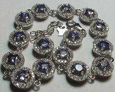 Natural!  Tanzanite 71,70 ct 925 Silver Bracelet,Fine Estate Jewelry,7.5/8''