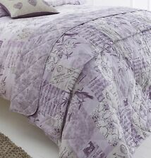 New vivid Vintage postcard Lilac colour design Double Duvet quilt Set bedding