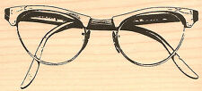 Vintage Glasses Wood Mounted Rubber Stamp Impression Obsession NEW
