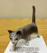 ➸ HAGEN RENAKER Cat Miniature Figurine Grey Silver Cat Kitten Walking