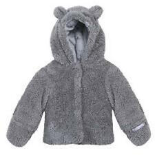 3 Pommes Grey Fluffy Boys Jacket with Bear Ears Age 6 Months