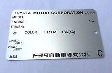 Plaque constructeur TOYOTA - TOYOTA vinplate - TOYOTA typenschild