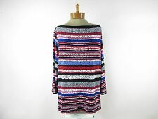 RUBY RD. Favorite Women's Boat Neck Blouse Top SIZE 2X Multi-Colored Striped
