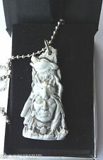 American Indian & Howling Wolf Hand Made in UK Pewter Pendant Gift Boxed