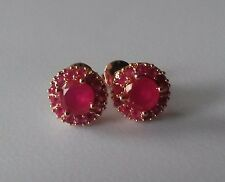 C05 Plum 18ct rose gold gf 1cm round DEEP PINK RUBY CLUSTER stud earrings GFTBXD