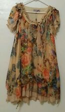 NWT Pretty Angel Silk Blend Floral Boho Chic Hippie Lace Vintage Dress Size M