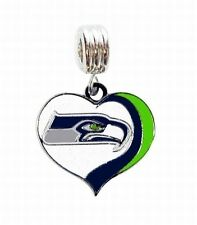 LOVE SEATTLE SEAHAWKS FOOTBALL CHARM SLIDER PENDANT NECKLACE EUROPEAN BRACELET