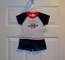 INFANT BABY BOYS RED WHT BLUE CONEY ISLE FIREFIGHTER SHIRT SHORTS OUTFIT 6-9 mos