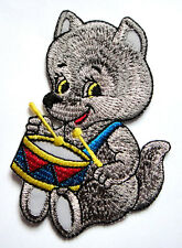 Cute Pretty Wolf Beating a Drum Cartoon Embroidered Iron on Patch Free Shipping