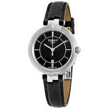 Tissot Flamingo Black Dial Black Leather Ladies Quartz Watch T0942101605100