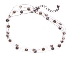 On Trend Multi- Stranded Chrome, Bronze Ball Embellished Choker Necklace(Zx177)
