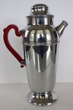 Vintage Chrome Cocktail Shaker Lid Spout Red Bakelite Lucite Handle Barware