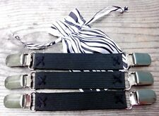 "Set of 3 Black Stretch DRESS CINCH CLIPS 3/4"" wide w/ Safety Insert and Pouch"