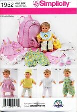 """SIMPLICITY SEWING PATTERN 1952 38CM/15"""" BITTY BABY DOLL CLOTHES & CARRIER"""