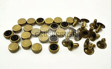 50pcs 8mm Antique Brass Flat Round Cap Rivets Rapid Studs Leather Nailhead RV028