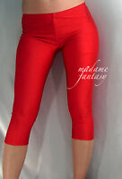 SHORT RED SHINY OPAQUE SPANDEX LEGGINGS XS-XXXL Tall