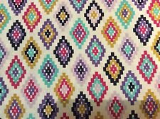 Michael Miller Arrow Flight Cornered Fabric - blue - pink - diamond - Aztec