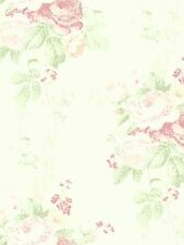 Wallpaper Vintage Cottage Soft Pink and Green Floral Bouquet Roses