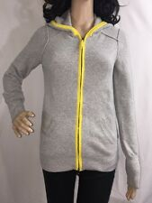 Gap Hooded Sweater Gray And Yellow Full Zip Casual Wool Blend Jacket - Medium