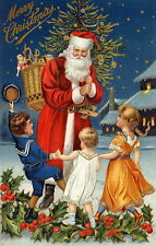 HD Print Oil Painting Picture Santa Claus & children on canvas 16x24 inches L212
