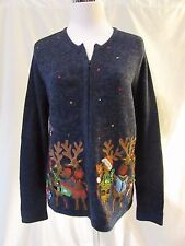 Ugly Christmas Sweater Women's Small Reindeer with bells Zipper Front Blue