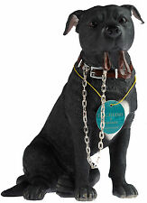 Walkies 19 cm Staff - Black Staffordshire Bull Terrier Dog Ornament Figurine