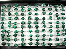 Wholesale Lots 10Pcs Green Natutral Malachite Gemstone Silver Plated Rings J76